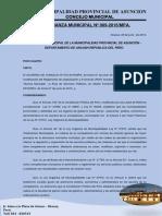 Ordenanza Municipal N°  009