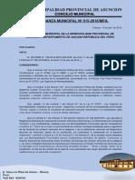 Ordenanza Municipal N°  015