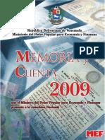 Memoria y Cuenta, MInisterio de Finanzas de Veenzuela, 2009