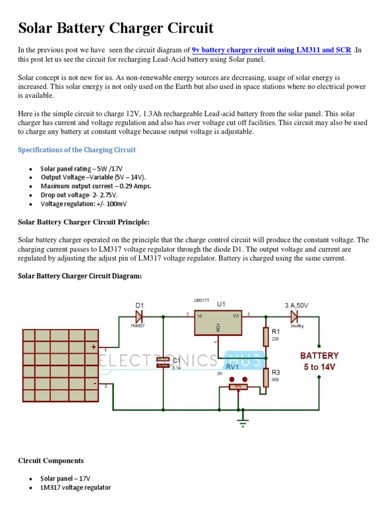 Solar Battery Charger Circuit Battery Charger Battery - Circuit Diagram Battery