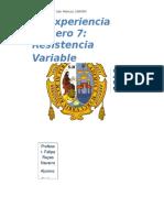Resistencia VARIABLE informe 7 lab fisica 3 unmsm