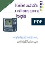 El Uso Del CAS en La Solucion de Ecuaciones Lineales Con Una Incognita