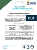 Alerta Allbendazol Bioquifar Pharmaceutica 2016
