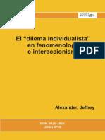 El dilema individualista en fenomenología e interacciones Alexander, Jeffrey