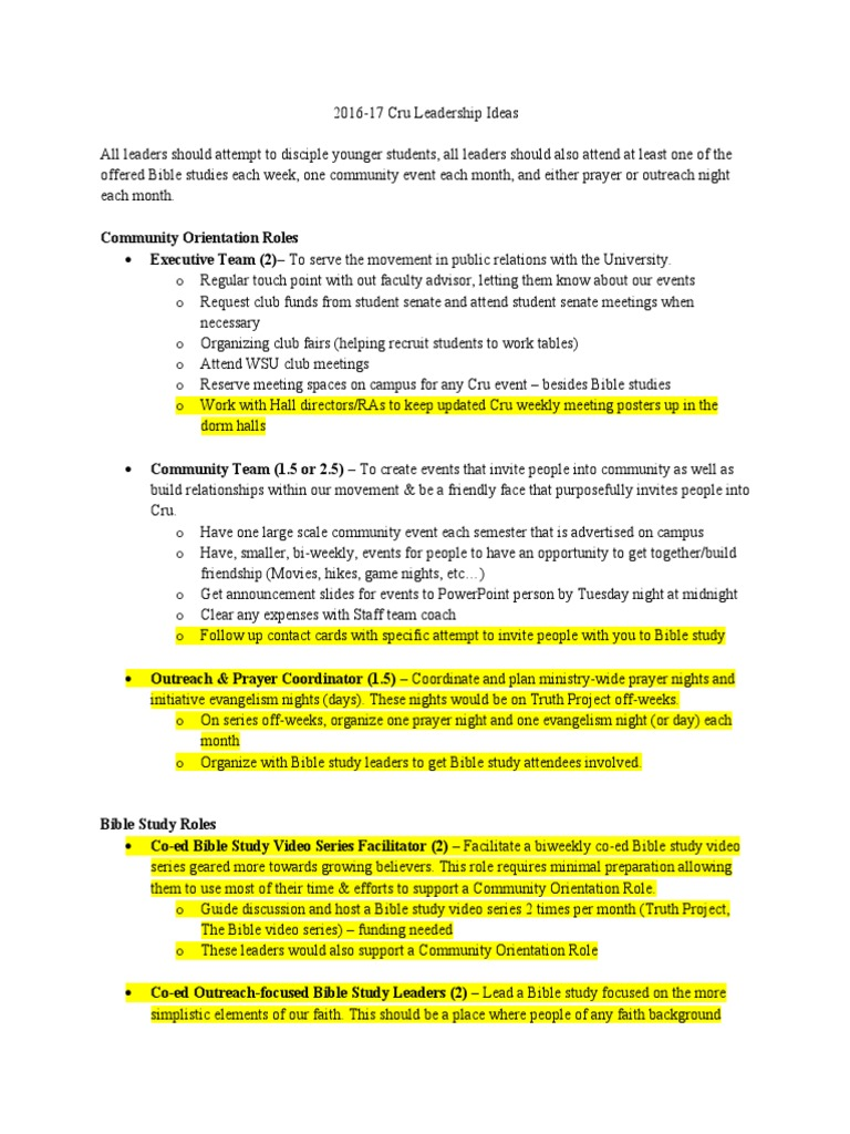 cru leadership plan assignments copy | Faith | Evangelism
