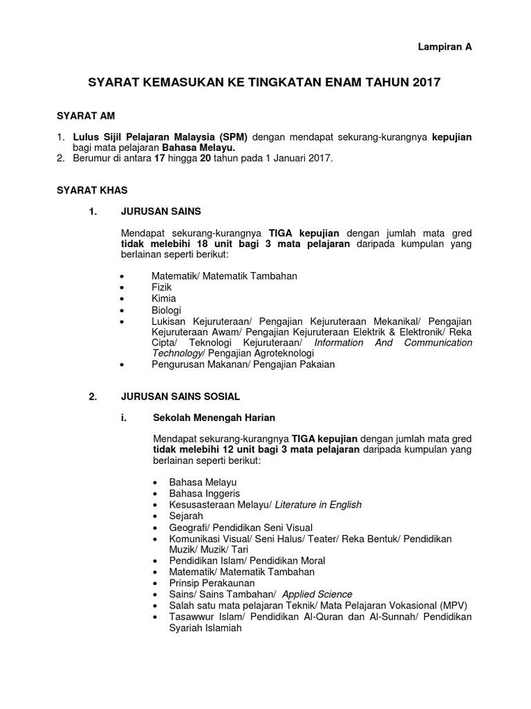 S1 Syarat Kemasukan Ke Tingkatan 6 Tahun 2017