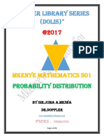 MKENYE  MATHEMATICS-S01,FORM SIX-Probability Distribution