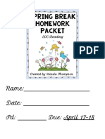 spring break packet - google docs