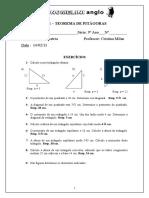 Lista 1 – Teorema de Pitágoras