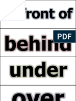 Prepositions Word Cards