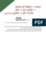 [Vivenza J.-m.] La Tradition d'Abel « Non-Apocryphe » Et Celle « Apocryphe » de Caïn - FR