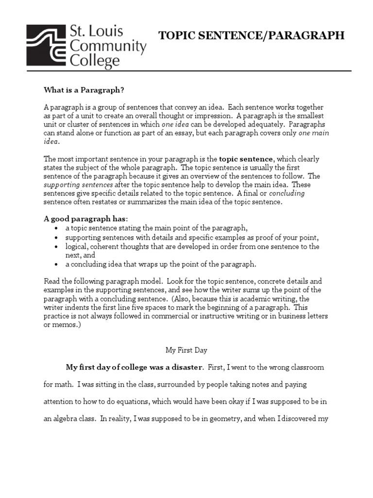 topic sentence paragraph paragraph sentence linguistics