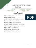 2016 writing center orientation agenda