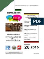 Portada Educación, Comunicación y Medios. ALEXANDRA RANZOLIN y JUAN C. CORREA. Anuario ININCO VOL28 N°1 2016.