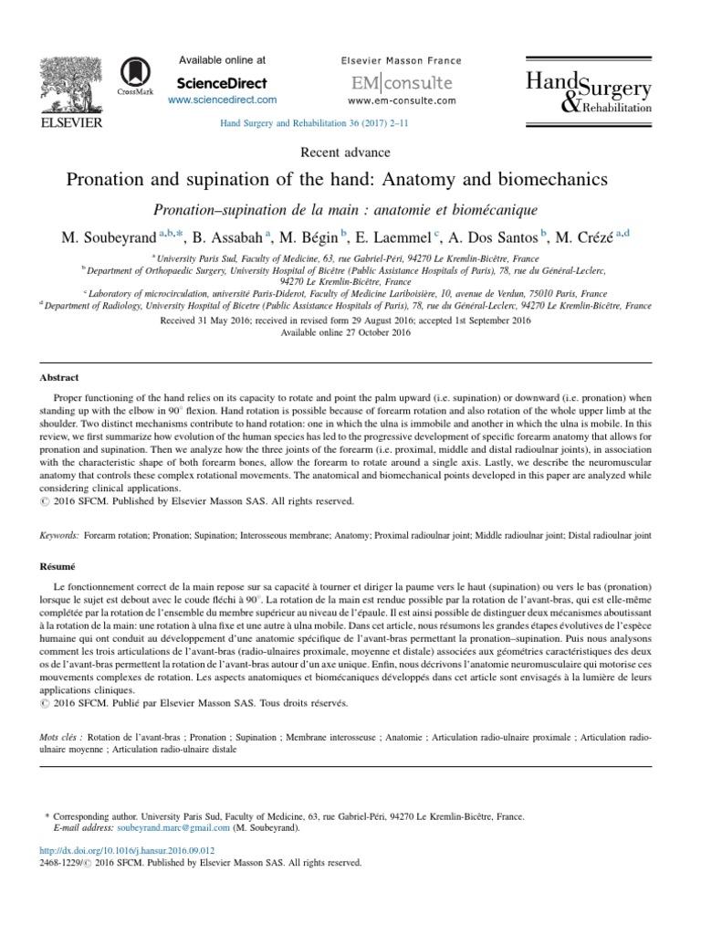 Biomechanics Pronation Supination   Elbow   Hand
