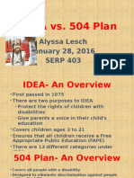 idea vs 504 plan presentation