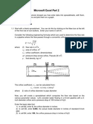 Excel Orifice Flow | Logarithm | Microsoft Excel
