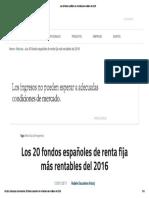 09 Los 20 Fondos Españoles de Renta Fija Más Rentables Del 2016