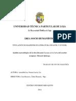 Análisis narratológico de la obranliteraria Ceuentos de la Selva - Horacio Quiroga