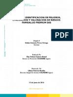Informe Identificación de Peligros Evaluacion y Valoracion de Riesgos - FAMISALUD