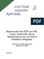 Runge-Kutta Variacion Temperatura en Disco Metalico delgado