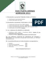 Admision 2011 Colegio Punta Arenas