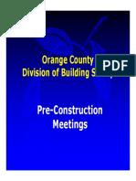 Pre Construction Meeting Info