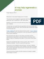 Fasting Diet May Help Regenerate a Diabetic Pancreas