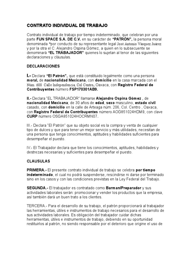 Contrato individual blanco Contrato trabajo