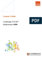 Learner Guide for Cambridge Igcse Mathematics 0580