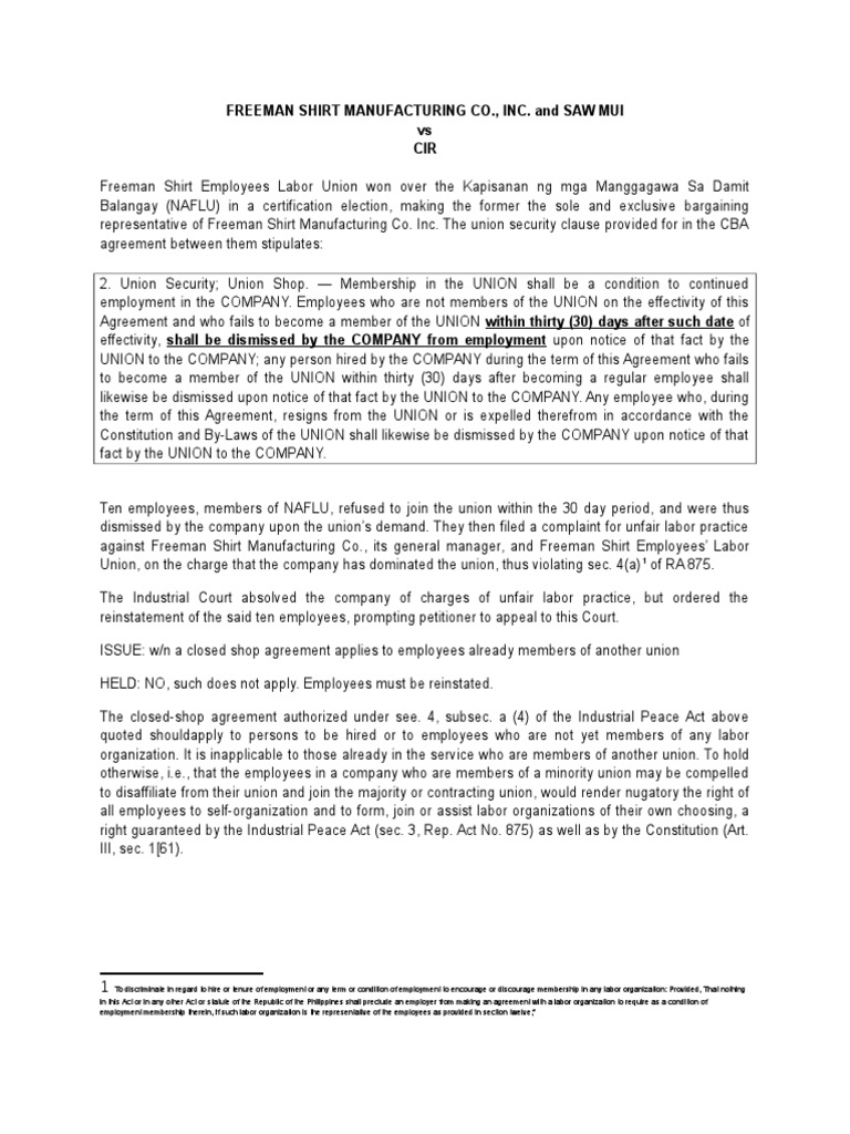 Freeman Shirt Manufacturing Co Trade Union Unfair Labor Practice