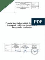 Procedura Privind Activitatile de Acordare de Avansuri, Verificarea Decontarilor Si Documentelor Justificative