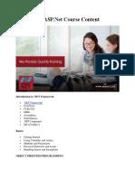 C# & ASP.net Course Content