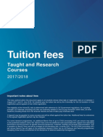 Taught Tuition Fees 2017 2018