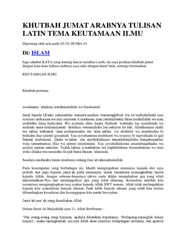 All Of The Khutbah Jumat Lengkap Teks Latin Hawaii New