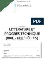 Littérature Et Progrès Technique (XIXe - XXIe Siècles)