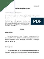 La réponse de Pravind Jugnauth à la Private Notice Question