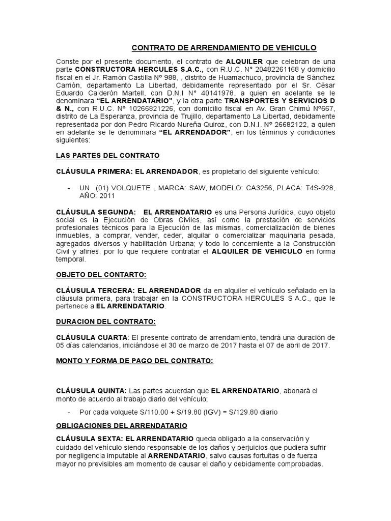 Contrato de Arrendamiento de Vehiculos Constructora Hercules II