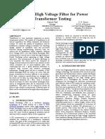 Design of High Voltage Filter for Power Transformer Testing