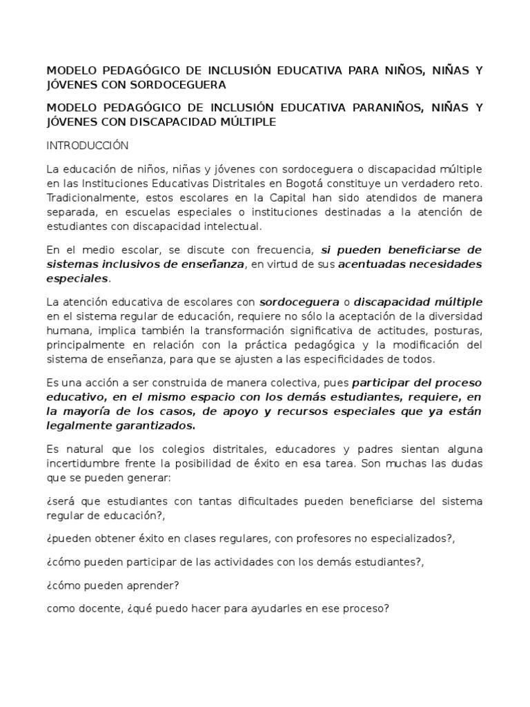 Modelo Pedagógico de Inclusión Educativa Para niños