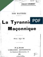 Drumont Edouard - La Tyrannie Maçonnique