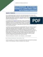 El Transformador de Potencia Monofasico Conectado Como Autotransformador