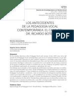 Antecedentes en La Pedagogia Vocal