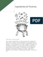 Hierbas e Ingredientes de Pociones