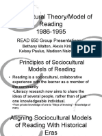 sociocultural theory model of reading 1986-1995