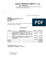 Presupuesto Kenyou Ingenieria y Asesorias Vos, c.a.