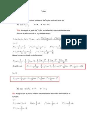 Ejercicios De Series De Taylor Sustraccion Matematicas Aplicadas