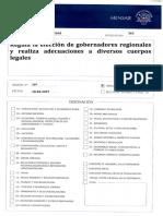 PROYECTO DE LEY ELECCION GOBERNADORES REGIONALES