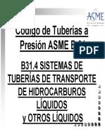 ASME B31.4 Memoria Codigo Tubería Transporte de Hidrocarburos Líquidos