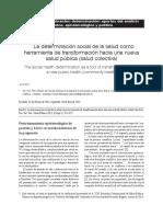 Determinacion Social Herramienta de La Salud Publica